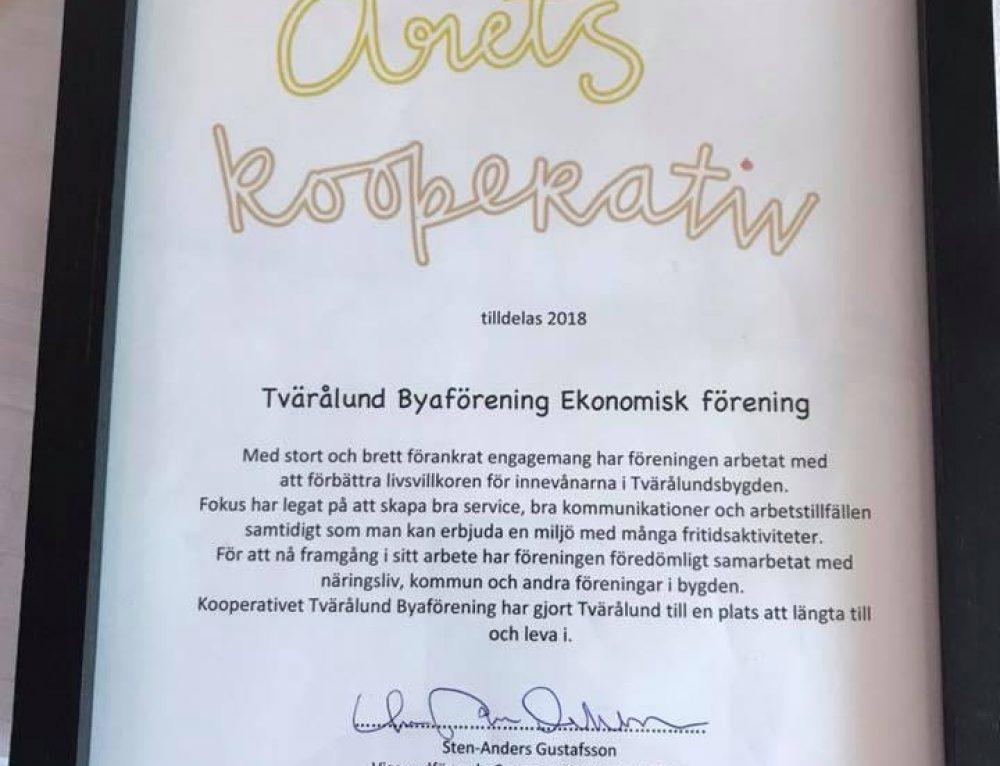 Årets kooperativ 2018 för Tvärålunds Byaförening!