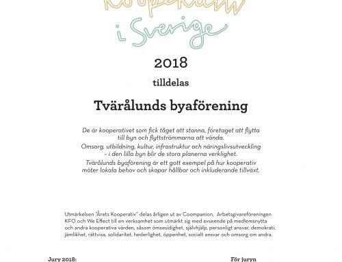 Årets Kooperativ i Sverige 2018